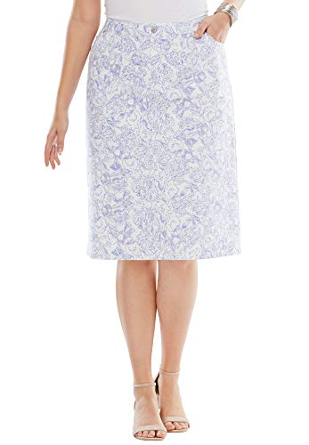 's Plus Size True Fit Denim Short Skirt - Blue Mist Floral Stencil, 18 ()