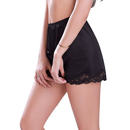 Americana Satin Bloomer Short Long Slip Lace Edge