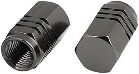 Semoic 4ピースのダークグレーカラー 六角形 アルミニウム 合金リムカバーバルブプラグ