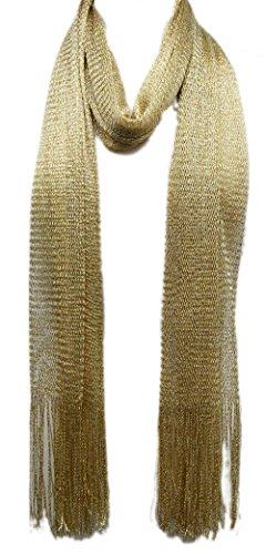 (Metallic Mesh Scarf (GOLD),Gold,28 x 72)