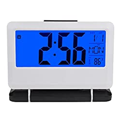 """EWTTO Digital Desktop Alarm Clock Travel Clock 16 Time Zone, Date, Calendar, Fahrenheit & Celsius Temperature Timer Snooze Function for Kitchen Office Kids and Travel- 5.5"""" LCD Screen(white)"""