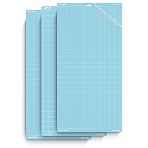 Nicapa Cutting Mat for Silhouette Cameo 3/2/1 [Light-Grip,12x24 inch 3pack] Adhesive&Sticky Non-Slip Flexible Square Gridded Cut Mats Replacement Accessories Set Matts Vinyl Craft Sewing Cloth ...
