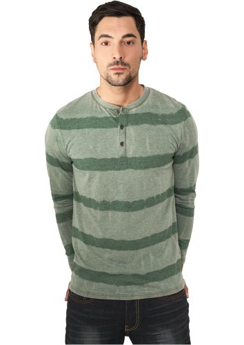 Urban Classics TB533 Fantasy Stripe Burnout L/S Henley Regular Fit Green M