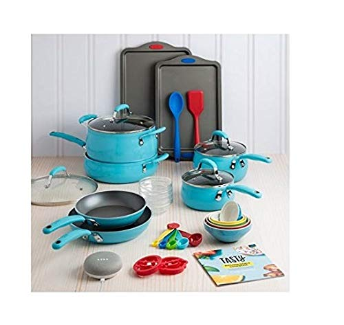 Fancy and Elegant Tasty 30 Piece Heavyweight Non-Stick Cookware Set – Includes Google Home Mini – Blue,Everything You Need for Your Kitchen in One Box
