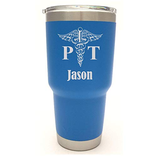 YETI Tumbler with Physical Therapist Caduceus Design Engraved - Not A Sticker - Now available in NEW Duracoat Colors