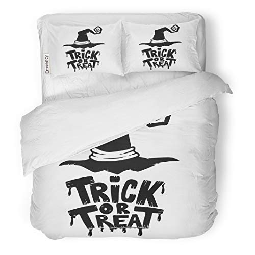 Semtomn Decor Duvet Cover Set Twin Size Magic Trick Treat Lettering Phrase Witch Hat on Halloween 3 Piece Brushed Microfiber Fabric Print Bedding Set Cover