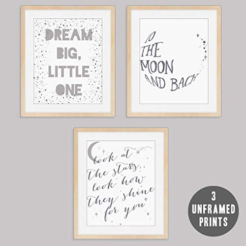 Whimsical Baby Wall Prints Art - 3 Prints for Baby's Nursery Bedroom (Unframed) Gender Neutral Gray Sleepy Graphic Decor Posters 8 x 10 inches Printed Posters Boy Girl To The Moon & Back Dream ()