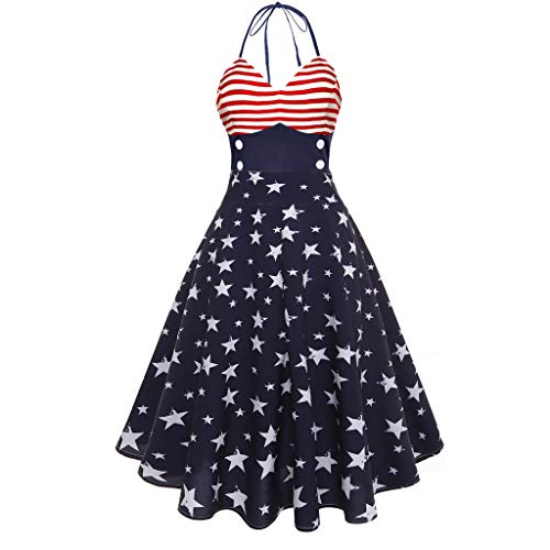- TnaIolral Women USA Flag Dresses, Vintage Sleeveless V Neck Printing Evening Party Swing (XL, Blue 3)