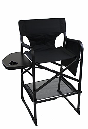 World Outdoor Products LIGHTWEIGHT PROFESSIONAL EDITION Tall Directors Chair Side Table with Cup Holder, Automatic Footrest and Side Bag