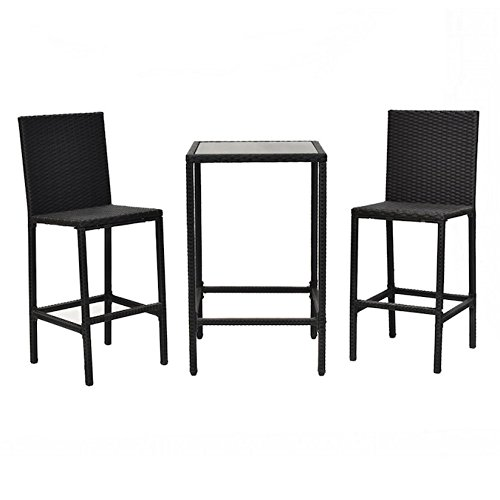 3 PCS Rattan Wicker Bar Dining Set Bistro Barstool Chair Glass Top Table Patio Lawn Garden Backyard Pool Side Furniture Set Lightweight Aluminum Frame Perfect For Indoor And Outdoor Use (Soho Outdoor Dining)