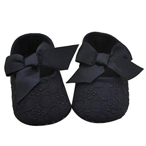 Toddler shoes,Kimanli Infant Girls Cotton Ribbon Bowknot Soft Bottom Prewalker (0~6 months, Black)