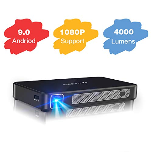 Mini Projector Android 9.0 System 4000 Lumens 4+16G DLP Portable Video Projector Smart Projector Support 1080P HDMI USB Bluetooth iPhone Laptop Wireless Screen Share for Home Theater Outdoor Gaming