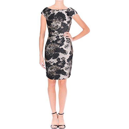 Vera Wang Women's Jacquard Short Cocktail Dress, Silver/Multi, 6