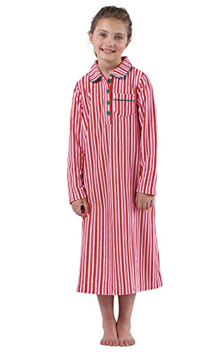 Candy Gown Stripe (PajamaGram Candy Cane Fleece Nightgown in Holiday Red/White, Big Girls' 8)