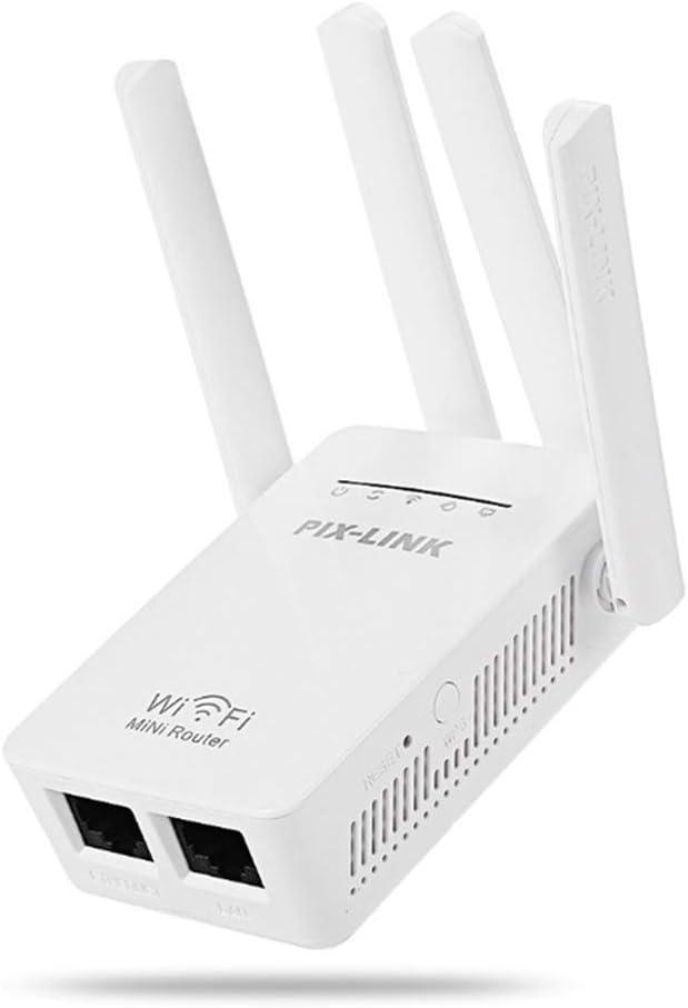 Docooler WiFi Extender 300 Mbit/s Wireless Amplificador de señal de pared de Internet Booster Wide Range Repetidor / Modo AP 4 antenas externas de alta ampliación