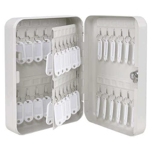 48-Key Holder Portable Solid Steel Key Storage Safe Case Lock Box White w/ Tags Screws for Home Store Dorm Office Shop Parking Lot Hotel Spa Security Wall Mount Hook - Spa Wall Mount