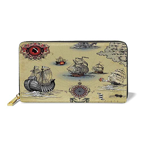 Women's Long Leather Card Holder Purse,Antique Old Plan Discovery Ship Pirate Wave Compass Navigation Geography Theme,Elegant Clutch Wallet