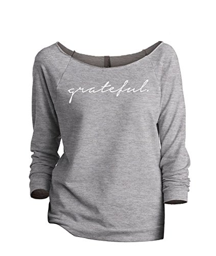 (Grateful Women's Fashion Slouchy 3/4 Sleeves Raglan Sweatshirt Sport Grey Large)