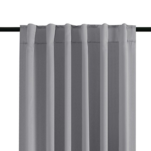 H.VERSAILTEX Thermal Insulated Blackout Curtains for Bedroom, Rod Pocket/Back Tab Window Panel Drapes - 2 Panels - Grey, 52x63 Inch