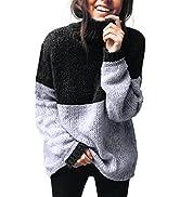Blooming Jelly Women's Chunky Turtleneck Sweater Color Block Oversized Sweatshirts Long Sleeve Tu...