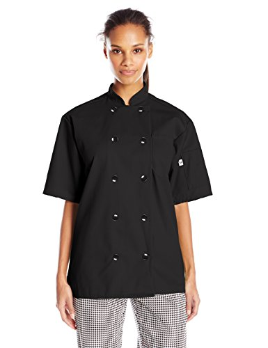 Uncommon Threads Unisex South Beach Chef Coat Short Sleeves, Black, Medium by Uncommon Threads