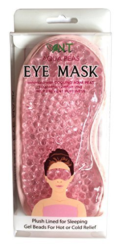 NT Aqua Peas Eye Mask - Reusable Eye Mask - Plush Lined for Sleeping Gel Beads For Hot or Cold Relief (Pink) Wei & Wen