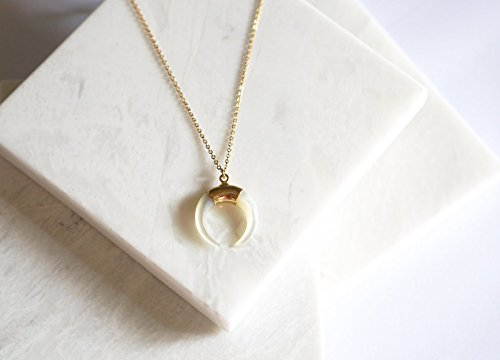 (24k Gold Electroplated Petite Mother Of Pearl Crescent Moon, Double Horn Pendant Necklace, 14K Gold Filled Layering Necklace )