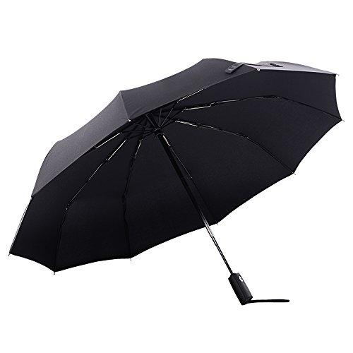 Colorain Windproof Travel Umbrella, Auto Open Close 10 Fiberglass Rib, Golf Size 46 Inch/54 Inch Folding Stick Umbrella for Men and Women with Gift Box (Black, 46 inch)
