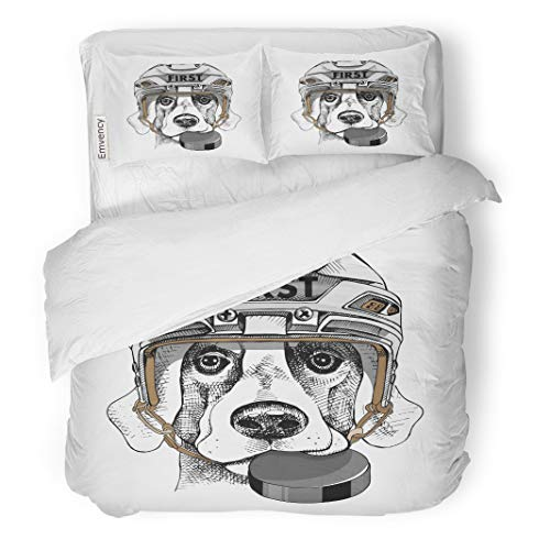 Semtomn Decor Duvet Cover Set Full/Queen Size Adorable Dog in White Ice Hockey Helmet Puck Animal 3 Piece Brushed Microfiber Fabric Print Bedding Set Cover]()