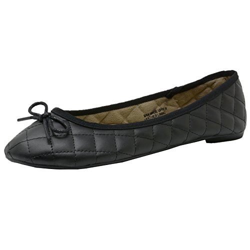 alpine swiss Womens Black Faux Leather Aster Slip On Ballet Flats 7 M US