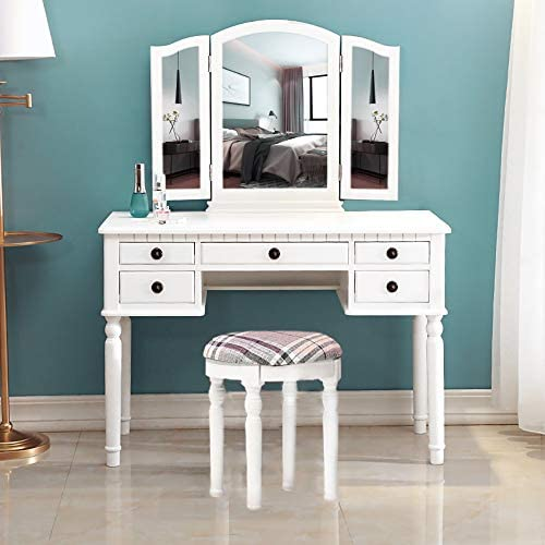 Joybase Vanity Set Makeup Vanity Table With Tri Folding Mirror Drawer And Cushioned Stool Vanity Beauty Station Makeup Dressing Table Set White Kitchen Dining