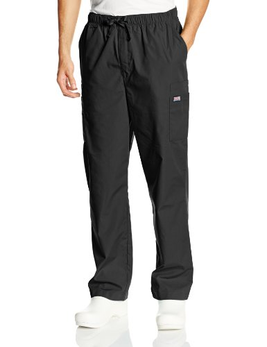 Cherokee Workwear Drawstring Pant (Cherokee Workwear Scrubs Men's Cargo Pant, Black, Large)