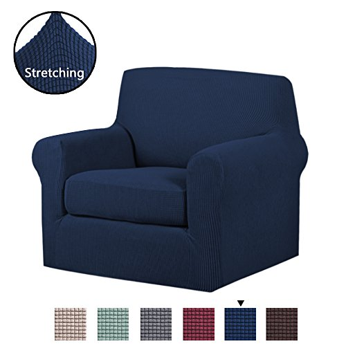 H.VERSAILTEX Stretch Chair Slipcovers Sofa Covers 2 Pieces Furniture Protector Rich Textured Lycra High Spandex Small Checks Knitted Jacquard Sofa Cover (Chair-1 Seater, ()