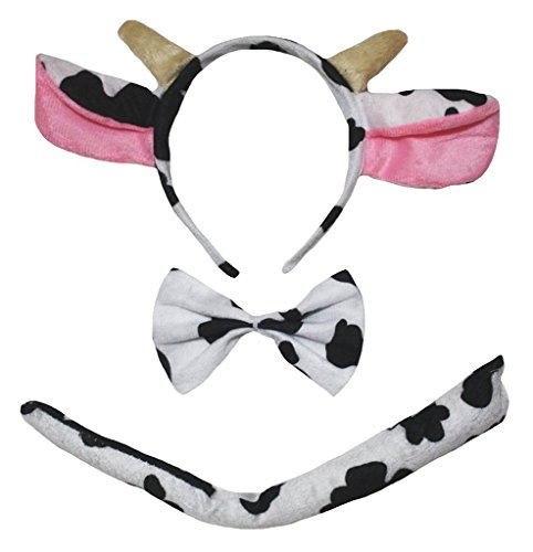 Petitebella Headband Bowtie Tail Unisex Children 3pc Costume (Milk Cow) -