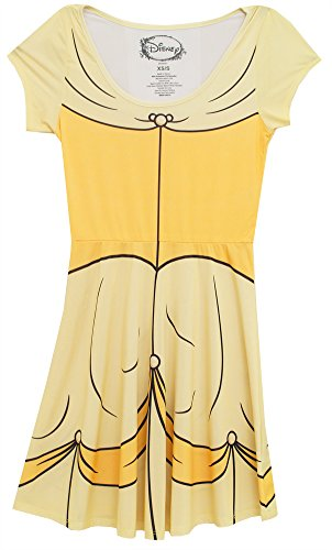 Chips Tv Show Costume (Disney Princess I Am Belle Snow White Sleeping Beauty Skater Dress (XS/S, Belle Yellow))