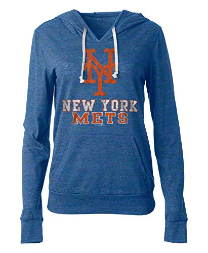 New Era New York Mets Women's MLB Triple Tri-Blend Hooded Shirt ()