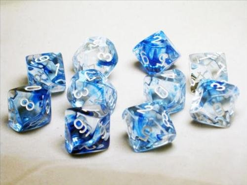 Chessex Dice Sets: Nebula Dark Blue with White - Ten Sided Die d10 Set (10) (D10 Set)