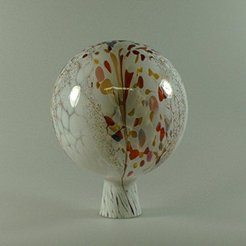 Decorative Garden Ball with Granule White D 15cm Mouth-Blown Handmade Original Lauscha Glass Lauschaer Glas 13GK15_01