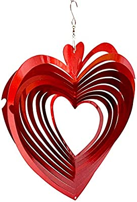 Dundee Deco W1016 Wind Spinner en Caja de Regalo – 3D Colgante Interior Exterior Patio Decoración – Mandala – Corazón – Rojo – 12 Pulgadas – Idea Hombres Mujeres, Recuerdo, Presente: Amazon.es: Jardín