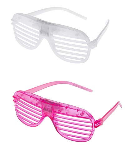 Mixed pack 1 White 1 Pink Colour Flashing Retro LED Shutter Style Glasses Slotted for Adults and Kids Parties Party Events Raves Dance Clubs and Costume Parties Coloured Slotted Shades Novelty Eyewear