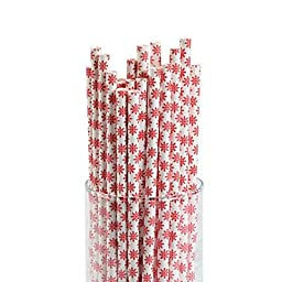 Red Snowflake Paper Straws 2 pack