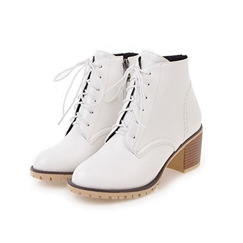 Women's Round up White Lace Kitten Blend Heels Boots Solid Toe Materials AgooLar pBXqwp