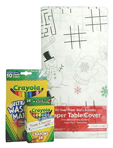Kids Color-on Christmas Turkey Tablecloth Activity Set with Crayons and Washable Markers Bundle - 3 ()