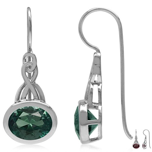 - 9x7MM Oval Shape Simulated Color Change Alexandrite 925 Sterling Silver Celtic Knot Hook Earrings
