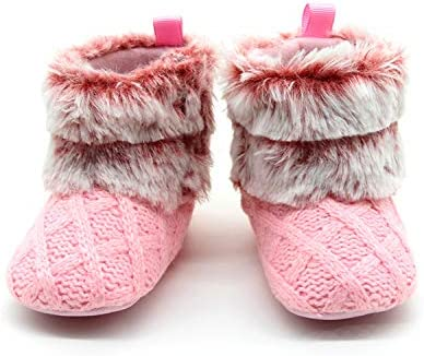 Riley Pink and White Faux Fur Baby Bootie Slippers - Sugar Tease