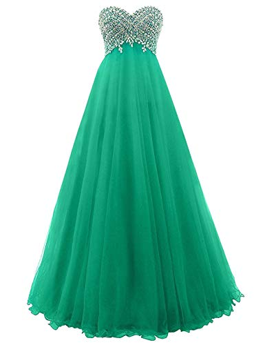 Longue Mariage Robe Vert Soirée Tulle De Strass Femme Avec