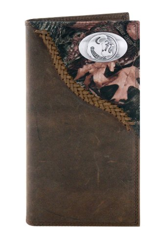 NCAA Florida State Seminoles Camouflage Leather Roper Concho Wallet, One Size