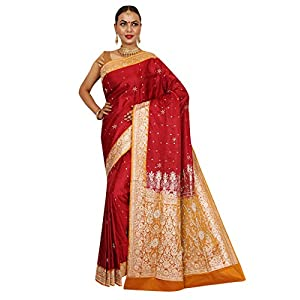 House Of Silko Women's Banarasi Brocade Silk with Contrast Yellow Border and Pallu with Zardozi Hand Embroidery on Heavy Pallu Saree ( Red and Yellow )