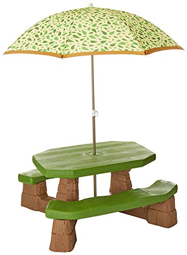 Kids Table Bench Garden Set Umbrella Patio Furniture Parasol Children Play 6 Seats Yard Outdoor Picnic Deck Shade