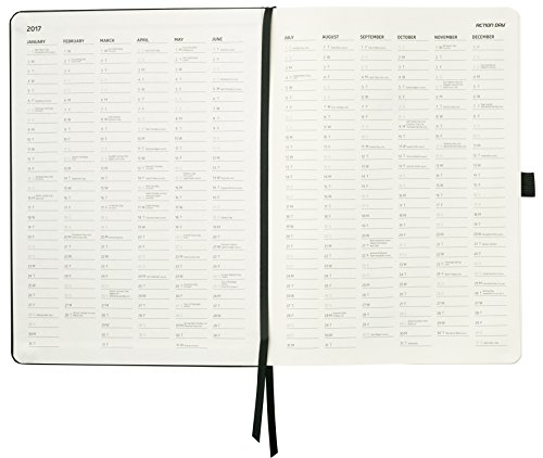 Action Day 2017 - World´s Best Action Planner - Layout Designed to Get Things Done - Weekly Daily Monthly Yearly Agenda, Calender, Appointment, Organizer & Goal Journal (8x11 / Thread-Bound/Black)